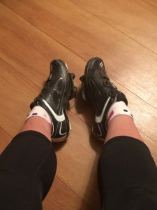 My swollen feet squished into the seemingly itty bitty cycling shoes