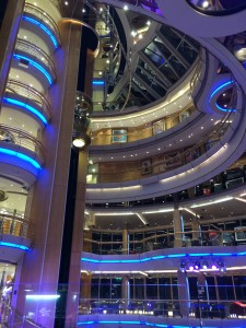 View from the center of the ship at night... cool!