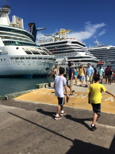 Many ships docked at Nassau... and my boys walking