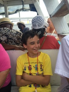 Gunner finding something quite funny on water taxi